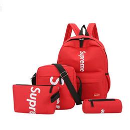 New back bag online shopping - Brand New Four piece Brand Letter Designer Backpack Casual Breathable Canvas Universal Multi purpose Back Packs Student Bag Hot for Men