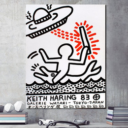 wholesale paintings NZ - Keither Harinying UFOs Funny Graffiti Canvas Painting Print Living Room Home Decor Modern Wall Art Oil Painting Poster Pictures