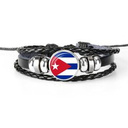 Glass Beaded Jewellery Australia - Multilayer Black Leather Rope Beaded Bracelets Glass Cabochon Cuba National Flag World Cup Football Fan Jewelry For Women Men Cute Jewellery
