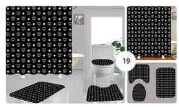 toilet accessories set UK - Custom-made High Quality Printing Shower Curtain Waterproof Multi-function Curtain Toilet Seat Covers Set 3piece Bathroom Accessories