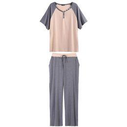 Summer Lounging Pajamas UK - Contrast Pants Length Wear Summer Neck Sleepwear  Women Full Pajamas Set e41d013bd
