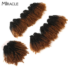"Discount curling for short hair - Miracle Ombre Synthetic Weave 14"" Short Jerry Curl Curly Hair Bundles With Closure For African American Women 200g"