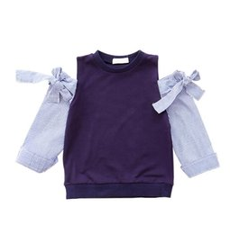 Girl Plaid Shirts Australia - Kids Shirt Spring Girl Shoulder off Shirt Gril Long Sleeve Stripe Top Bowknot Sleeve Clothing 6p