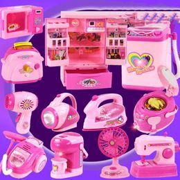 Toy Machines Australia - Children's Mini Kitchen Set Girl Simulation Play Home Small Appliances Toys Refrigerator Washing Machine Furniture Supplies