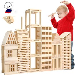 intellectual puzzle block NZ - Wooden 100 pieces of building model building blocks children's intellectual puzzle pile building blocks early education toys Y200111