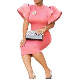 $enCountryForm.capitalKeyWord Australia - Plus Size Woman Pink Long Butterfly Sleeve Side Zipper Bodycon Dress Sexy Night Party Wear Key Hole Back Ruffles Midi Dresses