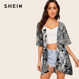 $enCountryForm.capitalKeyWord NZ - Boho Multicolor Chinese Botanical Print Tie Dye Kimono Cardigan Women Half Sleeve Spring 2019 Casual Vacation Long Kimonos C19041001