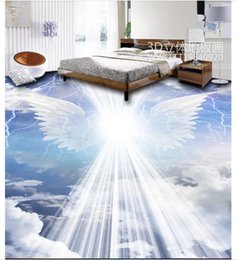 $enCountryForm.capitalKeyWord Australia - Customized 3D Self-adhesive Waterproof Flooring photo wallpaper Wall Sticker Angel wings cloud 3D bathroom living room floor painting