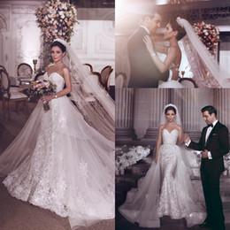 $enCountryForm.capitalKeyWord Australia - Romantic Luxury Sweetheart Mermaid Wedding Dresses 2019 New Arrival Crystals Beaded Lace Applique Wedding Bridal Gowns with Detachable Train