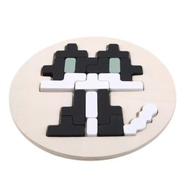 squared square puzzle Canada - Wooden Cartoon Tetris Square Puzzle Toys Agent Pixel Puzzle Disc Brain Tea Early Education Puzzle Board Educational Toys