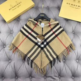 Wholesale Retail Winter Girl Fashion Knitted poncho Kids Crochet Hooded outwear Children loose batwing sleeve clothes