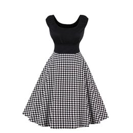 $enCountryForm.capitalKeyWord UK - 2019 New Vintage Hepburn Style Figure-flattering Piecing Classic Houndstooth Printing Sleeveless Flared Dress