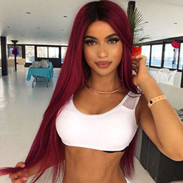 Two Tone Black Burgundy Hair Australia - Brazilian Ombre Lace Front Wigs Red Dark Root Long Straight Burgundy Two Tone Pre Plucked Full Lace Human Hair Wig For Black Women