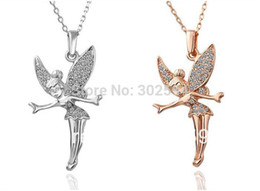 gold fairy pendant 2019 - KN010 Fairy Angel Fashion Jewelry wedding women lady Gold color Necklace Nickel Free Pendant Crystal Wedding gifts charm