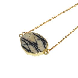 Zebra Chains Australia - 2019 New Irregular Big Raw Slice White Zebra connector pendant necklace girl 2 loops marble gem stone chain necklace for women