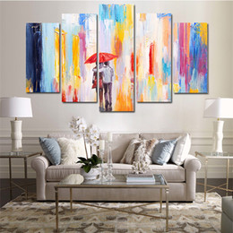 $enCountryForm.capitalKeyWord Australia - 5 Pcs Combinations HD Art lovers walking in the rain framed Canvas Painting Wall Decoration Printed Oil Painting poster