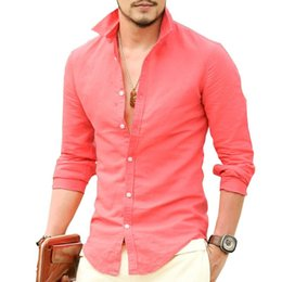 $enCountryForm.capitalKeyWord Australia - Brand Linen Men's Shirts Long Sleeve Male Slim Fit Casual Business Shirt Solid Flax dress shirt for man 8 Color XXL high quality