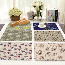 Discount western home decor Geometry Cartoon Pattern Table Placemats Home Kitchen Decor Placemat Heat Insulation Western Food Mats Dining Accessorie