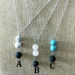 Volcanic laVa pendant online shopping - Turquoise Stones Natural Black Lava Diffuser Necklace Volcanic Rock Bead Aromatherapy Essential Oil Diffuser Necklace Women Jewelry Gift