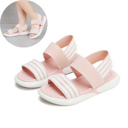 kids beach sandals 2019 - Pink Girls Stretch Fabric Sandals 2019 Summer Kids Beach Shoes Toddler Sandal Black Boy Sandals Non Slip Children Shoes