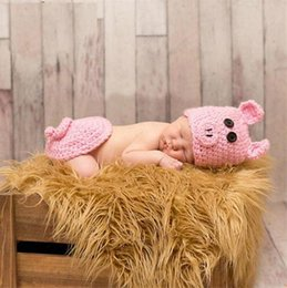 Crochet Outfits For Babies Australia - Newborn Baby Girls Pink Pig Outfit Knitted Infant Baby Photography Props Cartoon Costume For Girl Crochet Baby Hat
