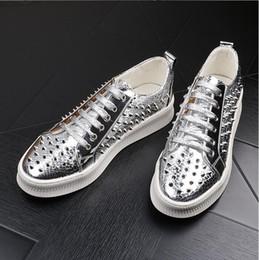 $enCountryForm.capitalKeyWord Australia - Designer Trending Men Gold Casual Shoes Round Toe Silver Rivets Charm Python Pattern Lace Up Platform Leisure Shoes Men d2a11