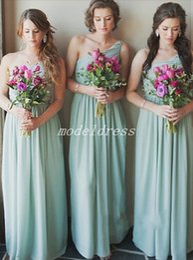 $enCountryForm.capitalKeyWord NZ - One Shoulder Mint Green Bridesmaid Dresses 2019 Floor Length Draped Chiffon Garden Beach Country Wedding Guest Gowns Maid Of Honor Dress