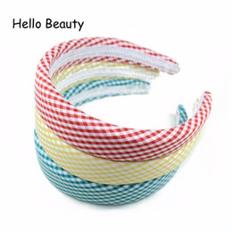 $enCountryForm.capitalKeyWord UK - korean accessories Korean Hair Accessories Handmade Green Striped Grid Wide Sponge Hairband Fabric Covered Plain Headbands For Girls Women