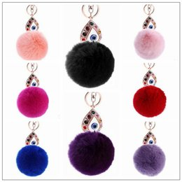 wholesale girls hair balls NZ - 11 Colors 13cm Women Rabbit Hair Fur Ball Keychain Water Drops Eyes Girl Handbag Accessories Key Chain Pompom Bag Accessory