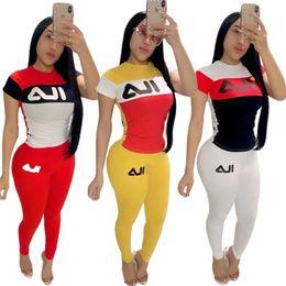 $enCountryForm.capitalKeyWord Australia - Brand Women Designer Two Pieces Outfits Color block Tracksuits Summer Short Sleeve Tshirts Top Pants Leggings Sportswear Bodycon Suit C53005