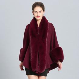 $enCountryForm.capitalKeyWord UK - Women Woolen Shawl with Faux Rabbit Fur Trim with Fur Collar Wrap Autumn Spring Cape Coat with fur cuffs Stole