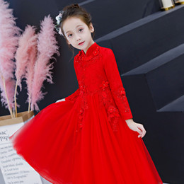 Red Tutu Christmas NZ - Autumn and winter cheongsam red long-sleeved children's birthday princess dress tutu girl piano wedding dress