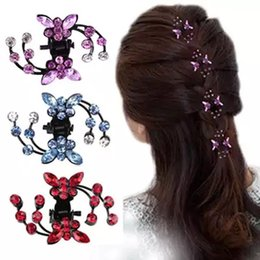 Kids Wedding Hair Accessories Crystal NZ - Women Rhinestone Crab Hair Claw Clip Girls Kids Butterfly Wedding Hair Clamp Mini Hairpins Glitter Crystal Accessories