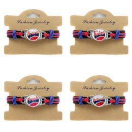 $enCountryForm.capitalKeyWord Australia - 10pcs lot American Baseball League Braves Twins angel Nationals Genuine Leather Adjustable Bracelet Wristband Cuff