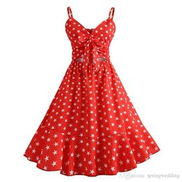 $enCountryForm.capitalKeyWord NZ - Red Navy Blue Polka Dots Printed Vintage Dress Audrey Hepbum 0850s Rockabilly Retro Women Party Dress Vestidos FS2880