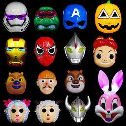 Iron Face Halloween Mask Australia - LED Glowing SuperHero Kids Cool Cosplay Mask Halloween party Mask Spiderman Iron Man Altman Cartoon pleasant goat&bonnie bear Mask For Child