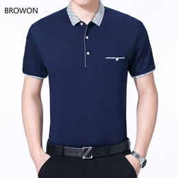 casual summer t shirt NZ - BROWON Brand T-shirt Summer Top 2020 Mens T Shirt with Collar Short Sleeve Casual Tees Sold Color Men Clothes T200528