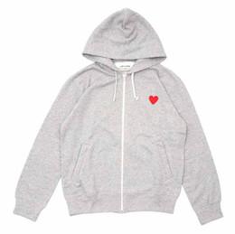 Ingrosso Felpa con cappuccio da uomo di moda paly classico classico piccolo cuore rosso stampa felpe marca hip hop semplice colore solido felpa con cappuccio cerniera con cappuccio
