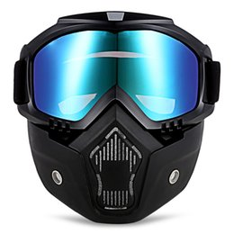 Woman Half Face Helmet Australia - Modular Mask Detachable Goggles And Mouth Filter Perfect for Open Face Motorcycle Half Helmet or Vintage Helmets