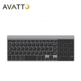 ultra thin laptops UK - AVATTO Ultra-thin 2.4GHz Wireless Multimedia Mini Keyboard with Digtal Keypad, Mouse Touchpad for Windows,Android,iOS,PC Laptop