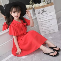 $enCountryForm.capitalKeyWord NZ - 2019 Casual Red Short Sleeve Dress For Girl Summer Solid Knee-length Regular Children Clothes Cotton Kids Girls Dresses 4ds515