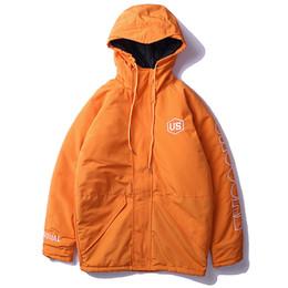 Mens Black Parkas Australia - 2019 Winter Mens Warm Windbreaker Jackets Hooded Parkas Men Women Hip Hop Casual Thick Jacket And Coat Streetwear Orange Wj006