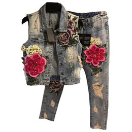 $enCountryForm.capitalKeyWord Australia - Women Flowers Embroidery Tracksuit 2 Piece Sets Beading Pattern Print Casual Sportswear Jacket Jeans Denim Set