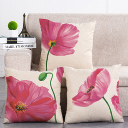 $enCountryForm.capitalKeyWord NZ - 3 Designs Tulip Flowers Pillow Covers Cotton Linen Pillow Cases Living Room Sofa Decorative Cushion Covers 45cm*45cm