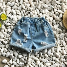 Cowboys Clothes Australia - Kids hole denim hot shorts 2019 summer new girls casual jean shorts children double pocket elastic cowboy shorts fashion kid clothes F6346