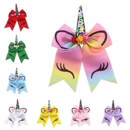 Girls hair ponytail clips online shopping - Kids Unicorn Bows Pom Hair Bands Kids Hair Clip Jewelry Sequin Bow Elastic Ribbon Hairband Children Gifts Ponytail Girls Hair Rope HHA437