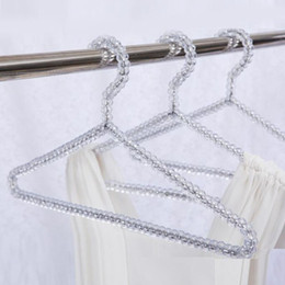 Free Wholesale Clothes Australia - Hot Fashion Acrylic Beads Hanger Women Clothing Skirts Dress Display Lady Clothes Crystal Hangers Free Shipping
