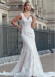 Lace Hole Back Wedding Dress Australia - Doulbe Straps Vintage Lace Appliqued Wedding Dresses 2019 Mermaid Bridal Gowns Key Hole Back Court Train Dress For Wedding