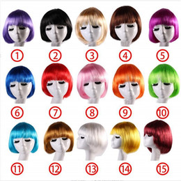 girl short hair bangs UK - Candy Colors Short Bob Wig Synthetic Wigs for Women With Bangs Bob Hairs Party Cosplay Anime Halloween Straight Bob wigs