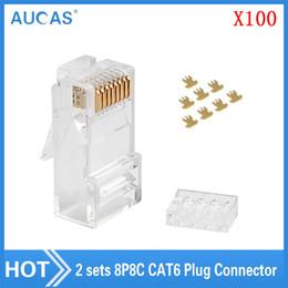 Utp Connector Australia - AUCAS 100pcs lot RJ45 Modular Plug Network Connector For UTP Cat 6 8P8C 50U UTP Cable Heads